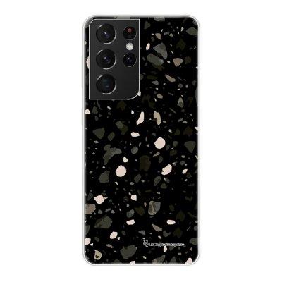 Coque Samsung Galaxy S21 Ultra 5G 360 intégrale transparente Terrazzo Noir Tendance La Coque Francaise.