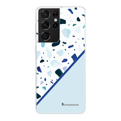 Coque Samsung Galaxy S21 Ultra 5G 360 intégrale transparente Duo Terrazzo Bleu Tendance La Coque Francaise.