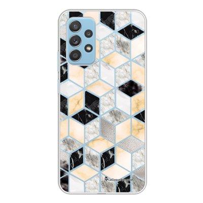 Coque Samsung Galaxy A52 souple transparente Carrés marbre Motif Ecriture Tendance La Coque Francaise.