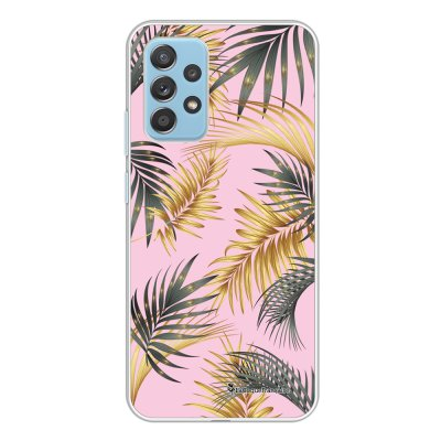 Coque Samsung Galaxy A52 souple transparente Feuilles de palmier rose Motif Ecriture Tendance La Coque Francaise.
