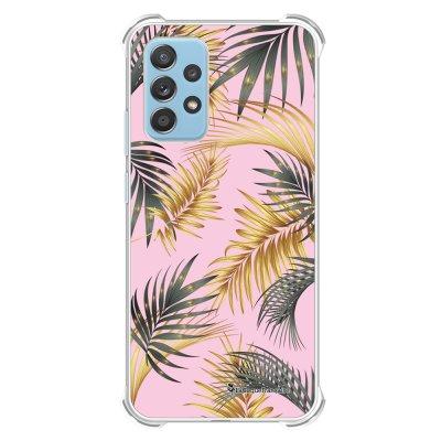 Coque Samsung Galaxy A52 anti-choc souple angles renforcés transparente Feuilles de palmier rose La Coque Francaise.