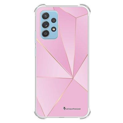 Coque Samsung Galaxy A52 anti-choc souple angles renforcés transparente Rose géométrique La Coque Francaise.