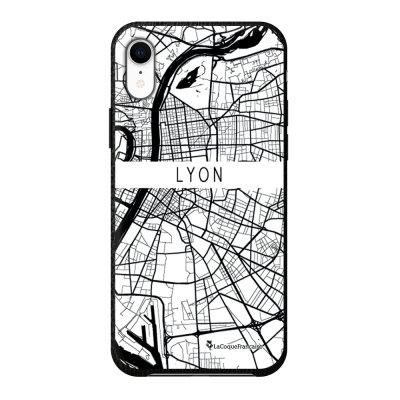 Coque iPhone Xr effet cuir grainé noir Carte de Lyon Design La Coque Francaise