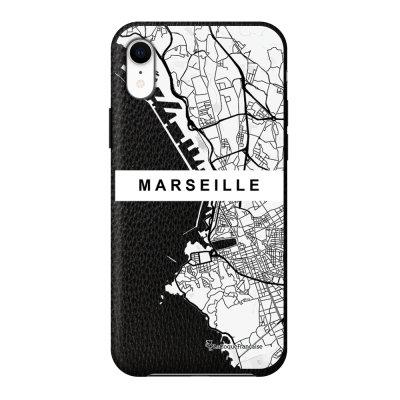 Coque iPhone Xr effet cuir grainé noir Carte de Marseille Design La Coque Francaise
