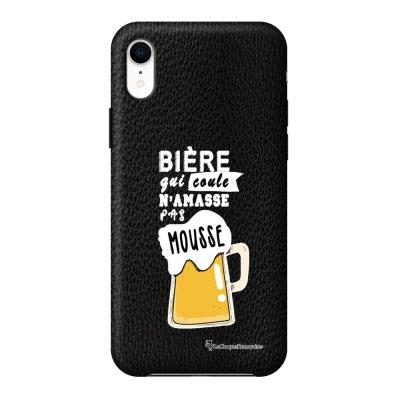 Coque iPhone Xr effet cuir grainé noir Bière qui Coule Design La Coque Francaise