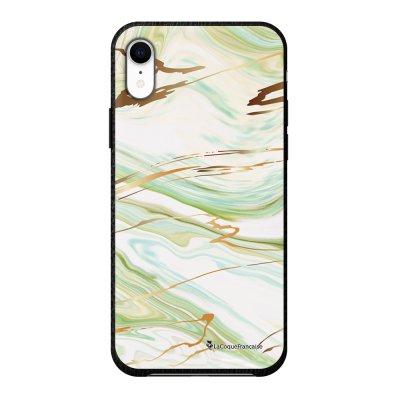Coque iPhone Xr effet cuir grainé noir Marbre Vert Design La Coque Francaise