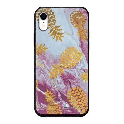 Coque iPhone Xr effet cuir grainé noir Marbre Ananas Or Design La Coque Francaise