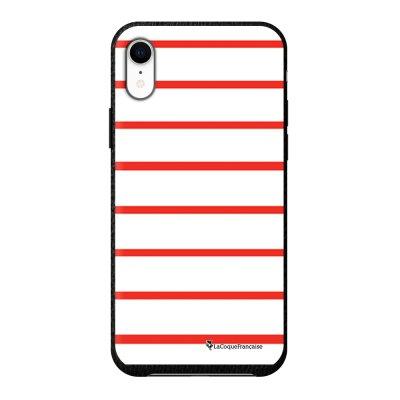 Coque iPhone Xr effet cuir grainé noir Marinière Rouge Design La Coque Francaise