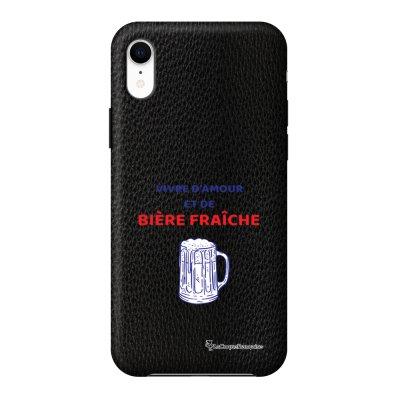 Coque iPhone Xr effet cuir grainé noir Vivre amour et Biere Design La Coque Francaise