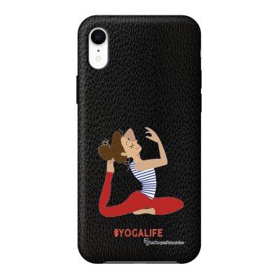 Coque iPhone Xr effet cuir grainé noir Yoga Life Design La Coque Francaise