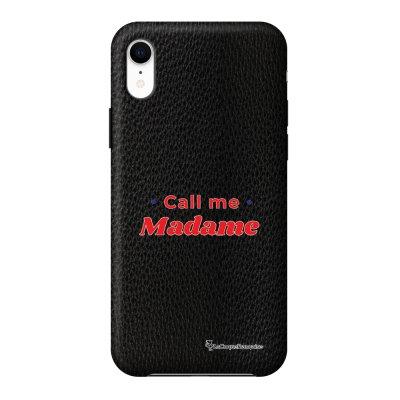 Coque iPhone Xr effet cuir grainé noir Call Me Madame Design La Coque Francaise