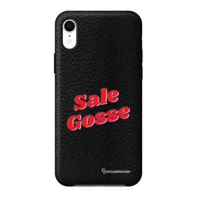 Coque iPhone Xr effet cuir grainé noir Sale Gosse Rouge Design La Coque Francaise