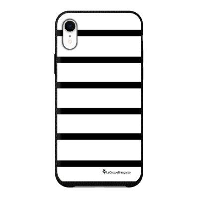 Coque iPhone Xr effet cuir grainé noir Marinière Noire Design La Coque Francaise