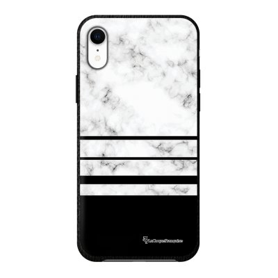 Coque iPhone Xr effet cuir grainé noir Trio marbre Blanc Design La Coque Francaise