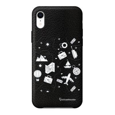 Coque iPhone Xr effet cuir grainé noir Aventure Design La Coque Francaise