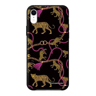 Coque iPhone Xr effet cuir grainé noir Léopard et Chaines Design La Coque Francaise