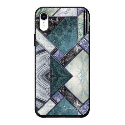 Coque iPhone Xr effet cuir grainé noir Marbre Bleu Vert Design La Coque Francaise