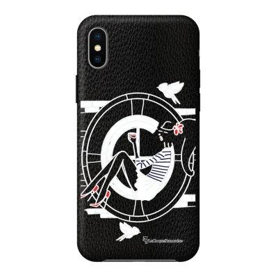 Coque iPhone X/Xs effet cuir grainé noir Sur les Toits de Paris Design La Coque Francaise