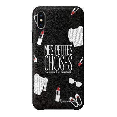 Coque iPhone X/Xs effet cuir grainé noir Mes Petites Choses Design La Coque Francaise
