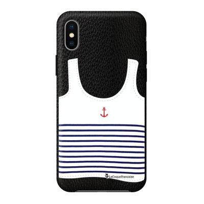 Coque iPhone X/Xs effet cuir grainé noir Le Francais Design La Coque Francaise