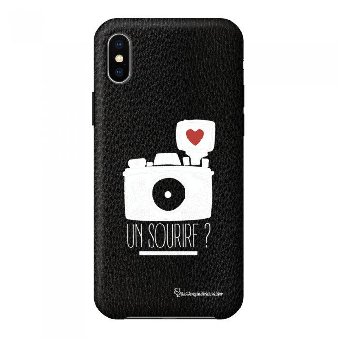 Coque iPhone X/Xs effet cuir grainé noir Un sourire Design La Coque Francaise