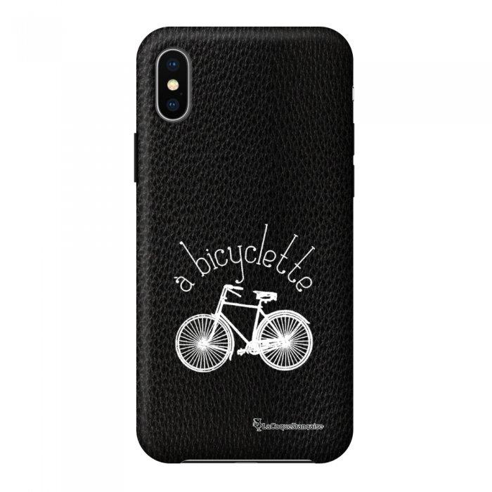 Coque iPhone X/Xs effet cuir grainé noir Bicyclette Design La Coque Francaise