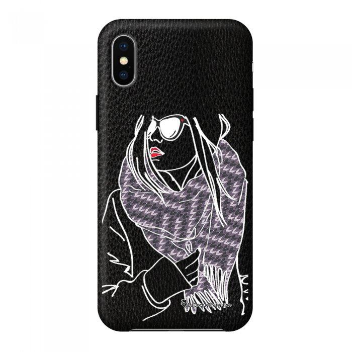 Coque iPhone X/Xs effet cuir grainé noir Echarpe Design La Coque Francaise