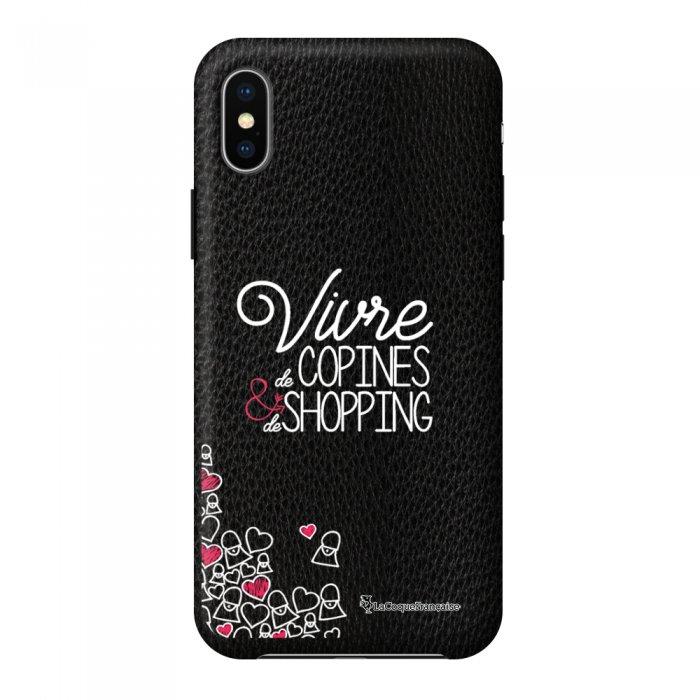 Coque iPhone X/Xs effet cuir grainé noir Vivre de copines Design La Coque Francaise