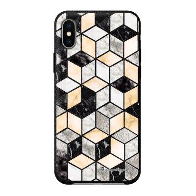 Coque iPhone X/Xs effet cuir grainé noir Carrés marbre Design La Coque Francaise