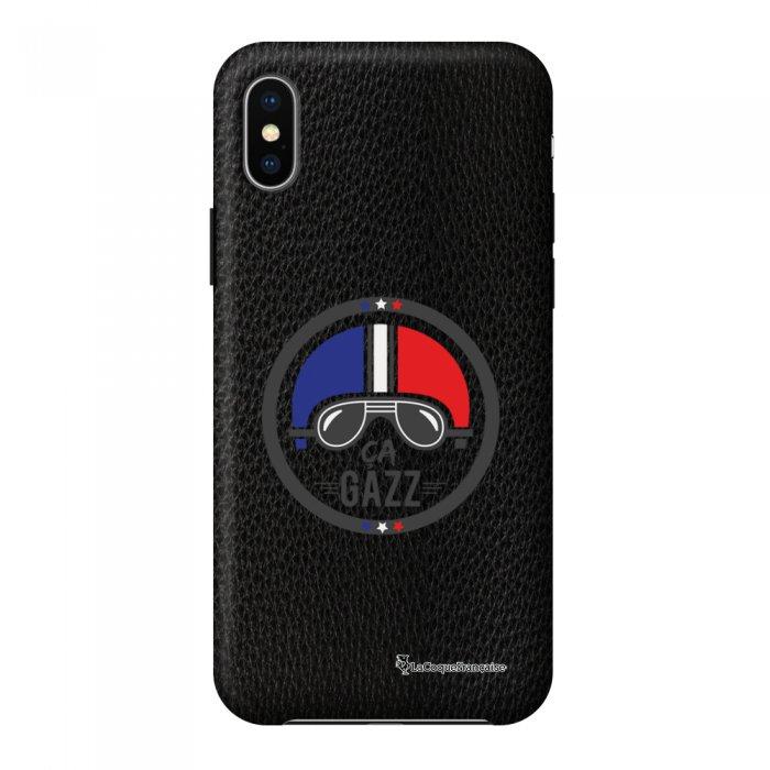 Coque iPhone X/Xs effet cuir grainé noir Ca gazz Design La Coque Francaise