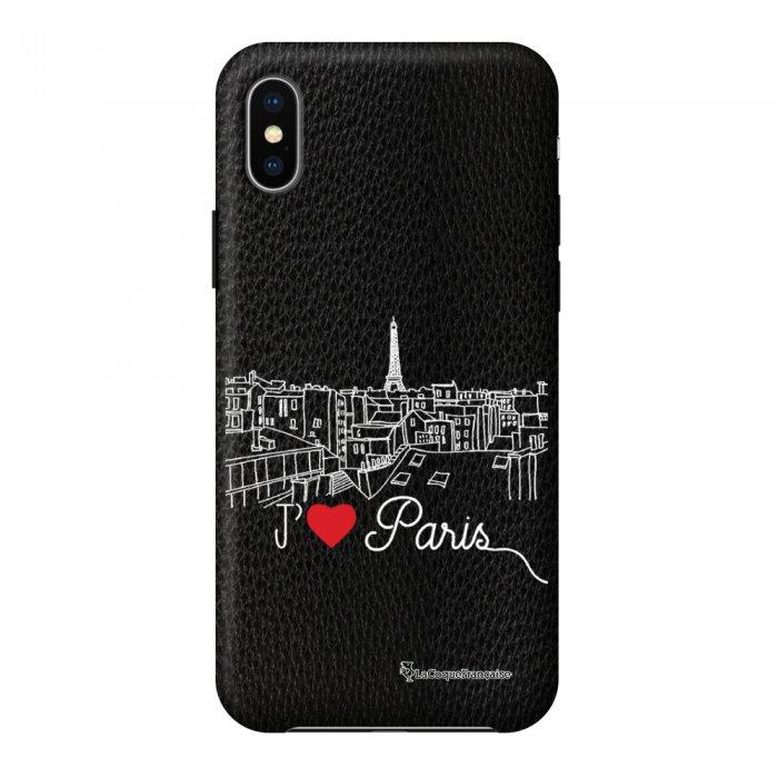 Coque iPhone X/Xs effet cuir grainé noir J'aime Paris Design La Coque Francaise