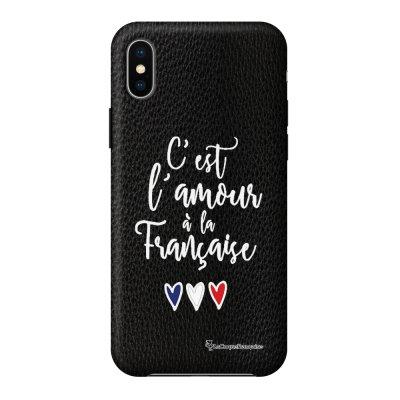 Coque iPhone X/Xs effet cuir grainé noir C'est l'amour Design La Coque Francaise