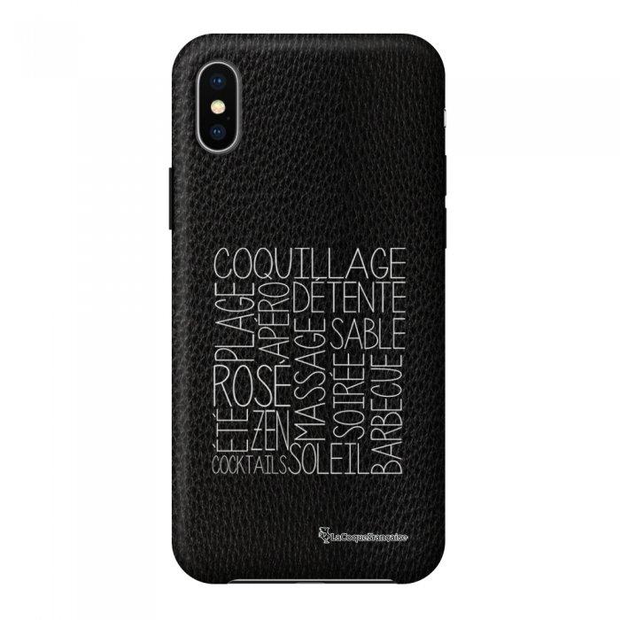 Coque iPhone X/Xs effet cuir grainé noir Les mots de l'été Design La Coque Francaise