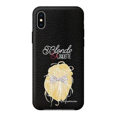 Coque iPhone X/Xs effet cuir grainé noir Blonde et coquette Design La Coque Francaise
