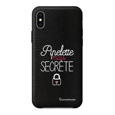 Coque iPhone X/Xs effet cuir grainé noir Pipelette mais secrète Design La Coque Francaise