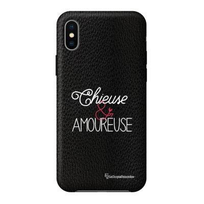 Coque iPhone X/Xs effet cuir grainé noir Chieuse et Amoureuse Design La Coque Francaise