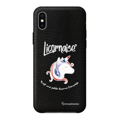 Coque iPhone X/Xs effet cuir grainé noir Licornaise Design La Coque Francaise