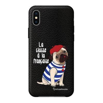 Coque iPhone X/Xs effet cuir grainé noir Chien Marinière Design La Coque Francaise
