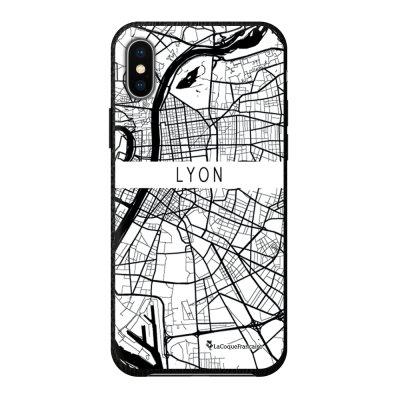 Coque iPhone X/Xs effet cuir grainé noir Carte de Lyon Design La Coque Francaise