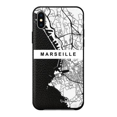 Coque iPhone X/Xs effet cuir grainé noir Carte de Marseille Design La Coque Francaise