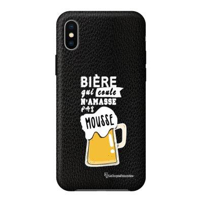 Coque iPhone X/Xs effet cuir grainé noir Bière qui Coule Design La Coque Francaise