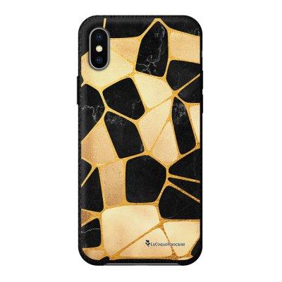 Coque iPhone X/Xs effet cuir grainé noir Or Noir Design La Coque Francaise
