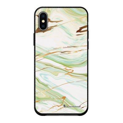 Coque iPhone X/Xs effet cuir grainé noir Marbre Vert Design La Coque Francaise