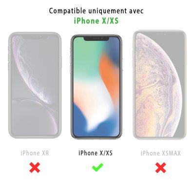 Coque iPhone X/Xs effet cuir grainé noir Marbre noir Design La Coque Francaise