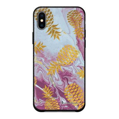 Coque iPhone X/Xs effet cuir grainé noir Marbre Ananas Or Design La Coque Francaise