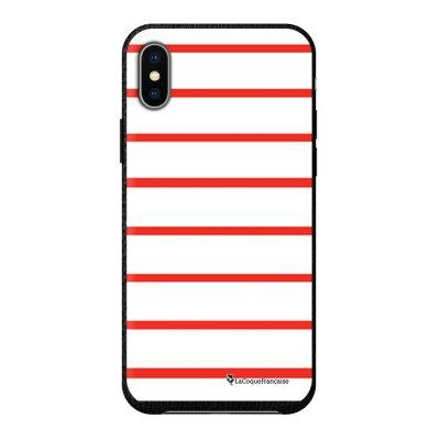 Coque iPhone X/Xs effet cuir grainé noir Marinière Rouge Design La Coque Francaise