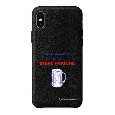 Coque iPhone X/Xs effet cuir grainé noir Vivre amour et Biere Design La Coque Francaise