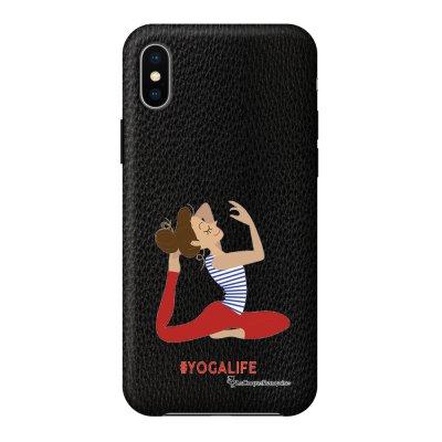 Coque iPhone X/Xs effet cuir grainé noir Yoga Life Design La Coque Francaise