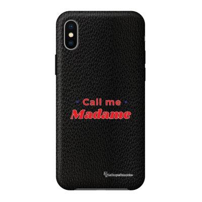 Coque iPhone X/Xs effet cuir grainé noir Call Me Madame Design La Coque Francaise
