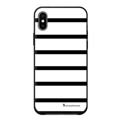 Coque iPhone X/Xs effet cuir grainé noir Marinière Noire Design La Coque Francaise